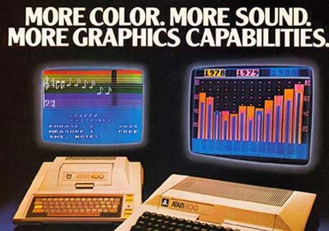 Wczesna reklama Atari 400/800. Zwróć uwagę na rok!
