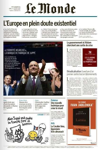 Le Monde du Jeudi 15 Septembre 2016