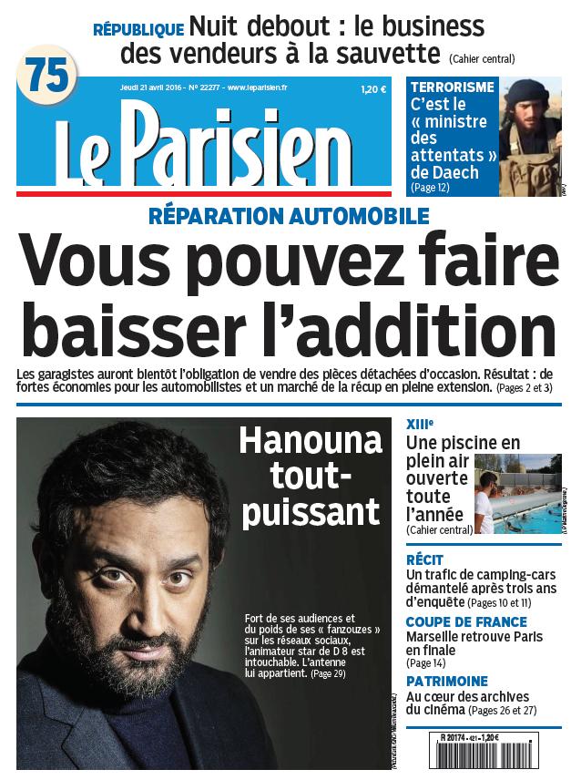Le Parisien + Journal de Paris du Jeudi 21 Avril 2016