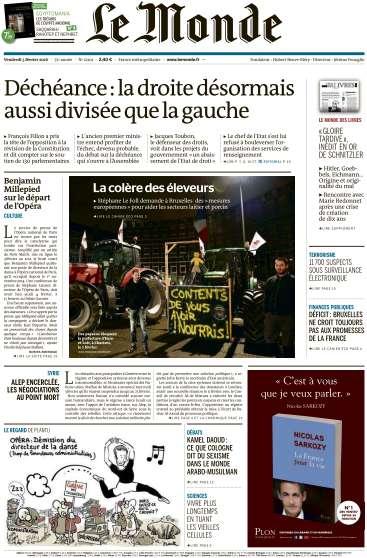 Le Monde + 2 suppléments du Vendredi 5 Février 2016