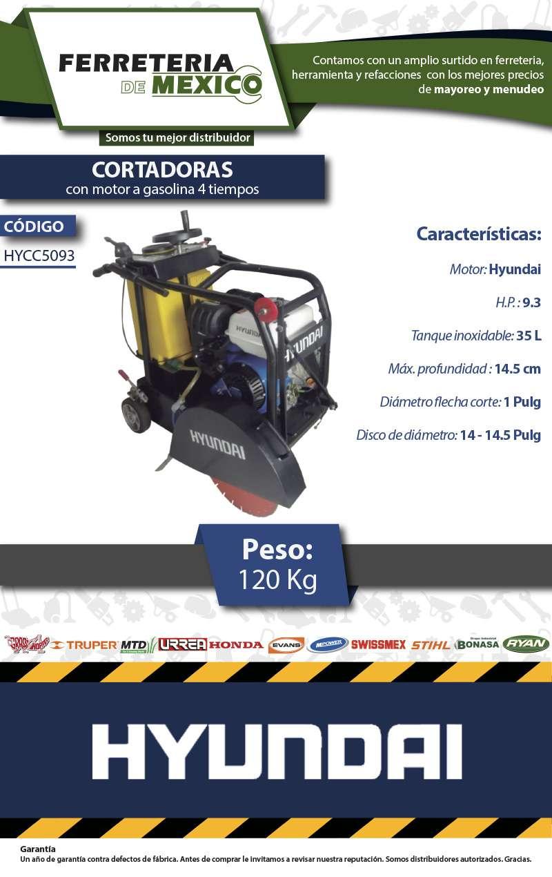 Cortadora de Concreto Hyundai c/Motor 9.3Hp, Envio Gratis