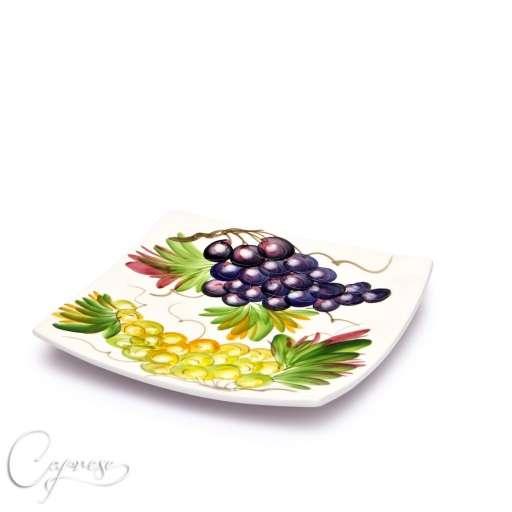 bassano keramik quadratisch teller 20 cm trauben motiv aus italien neu ebay. Black Bedroom Furniture Sets. Home Design Ideas