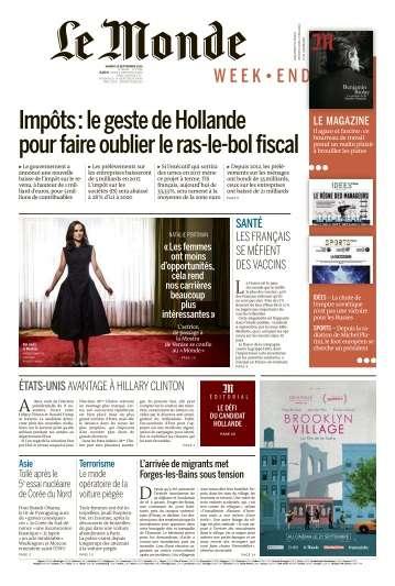 Le Monde du Samedi 10 Septembre 2016