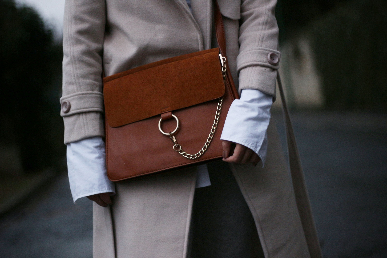 manteau beige, blog mode, the green ananas, sac inspi faye, faye chloé, puma heart, chaussette résille, pantalon laine femme, h&m, shein zaful, hollister, contraste