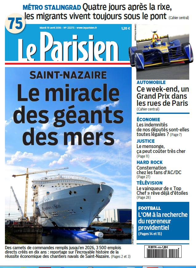 Le Parisien + Journal de Paris du Mardi 19 avril 2016