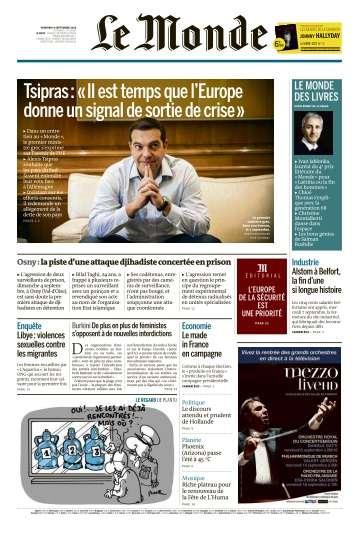 Le Monde du Vendredi 9 Septembre 2016