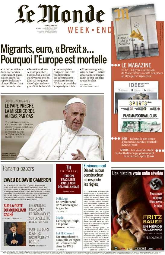 Le Monde du Samedi 9 Avril 2016
