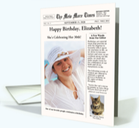 Newspaper Style Birthday Card with Cat-Mew More Times
