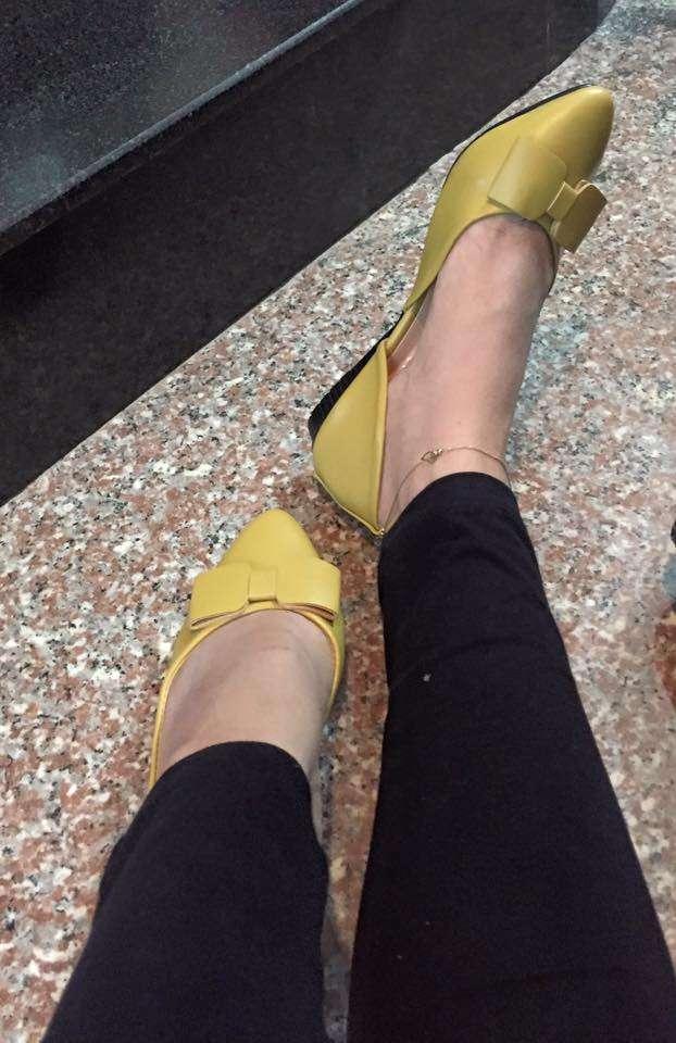 Giày búp bê mũi nhọn đính nơ Size 36 đến 39