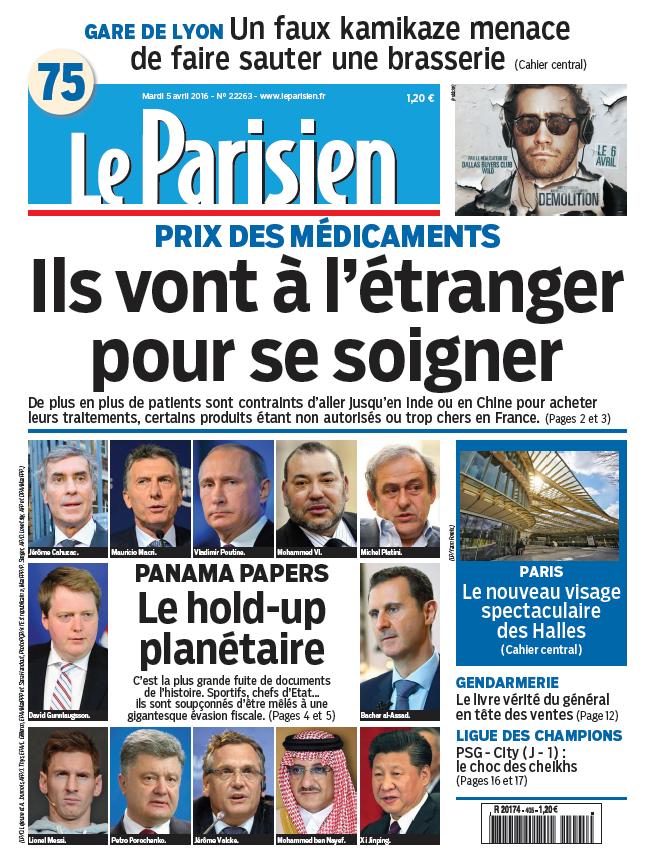 Le Parisien + Journal de Paris du Mardi 5 Avril 2016