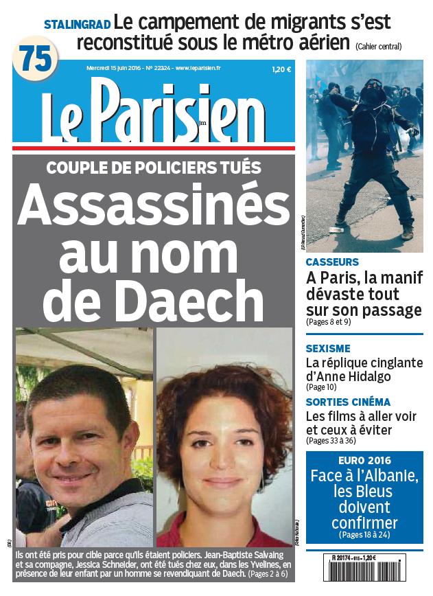 Le Parisien + Journal de Paris du Mercredi 15 Juin 2016