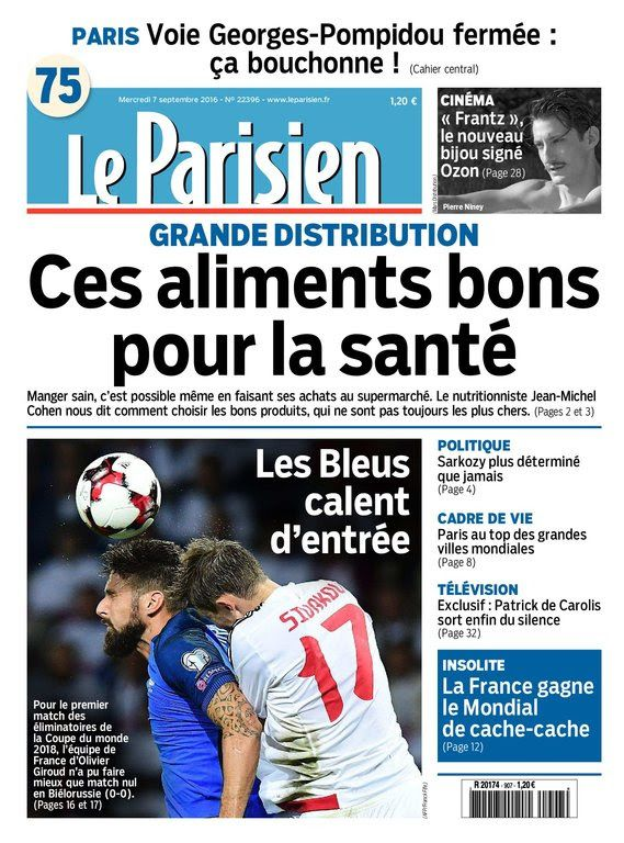 Le Parisien et Journal de Paris du Mercredi 7 Septembre 2016