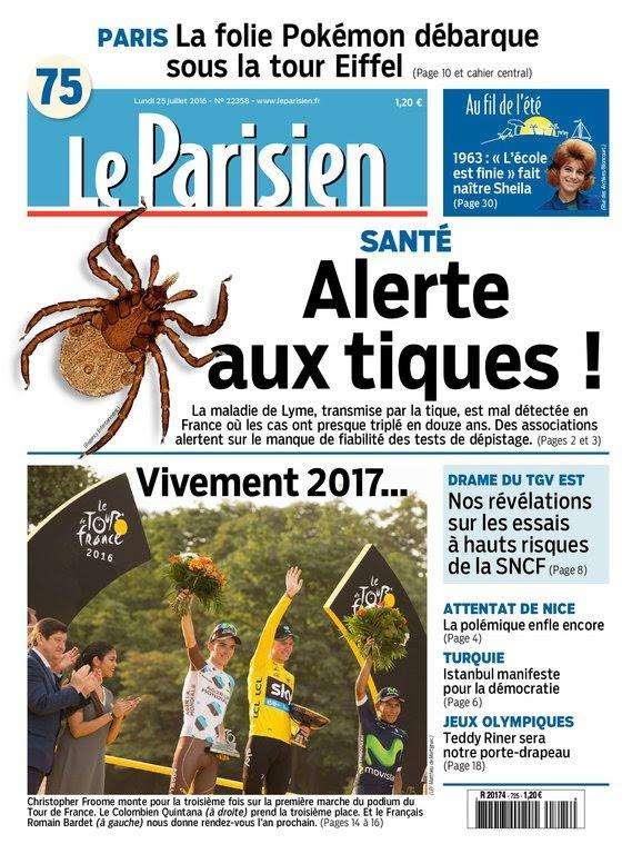 Le Parisien et Journal de Paris du Lundi 25 juillet 2016