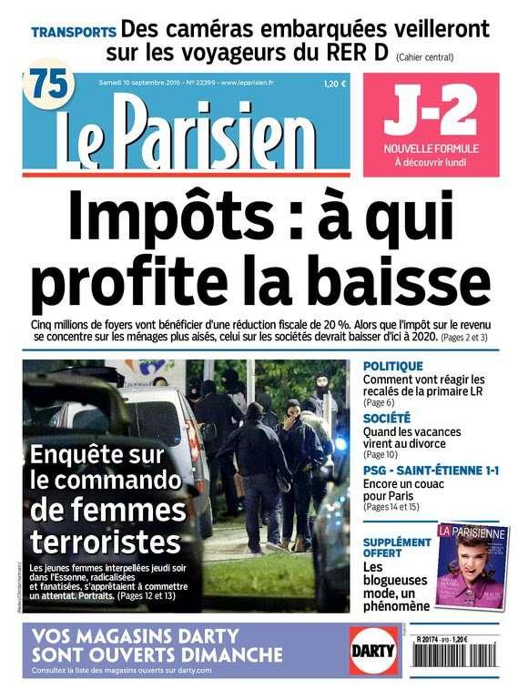 Le Parisien et Journal de Paris du Samedi 10 Septembre 2016