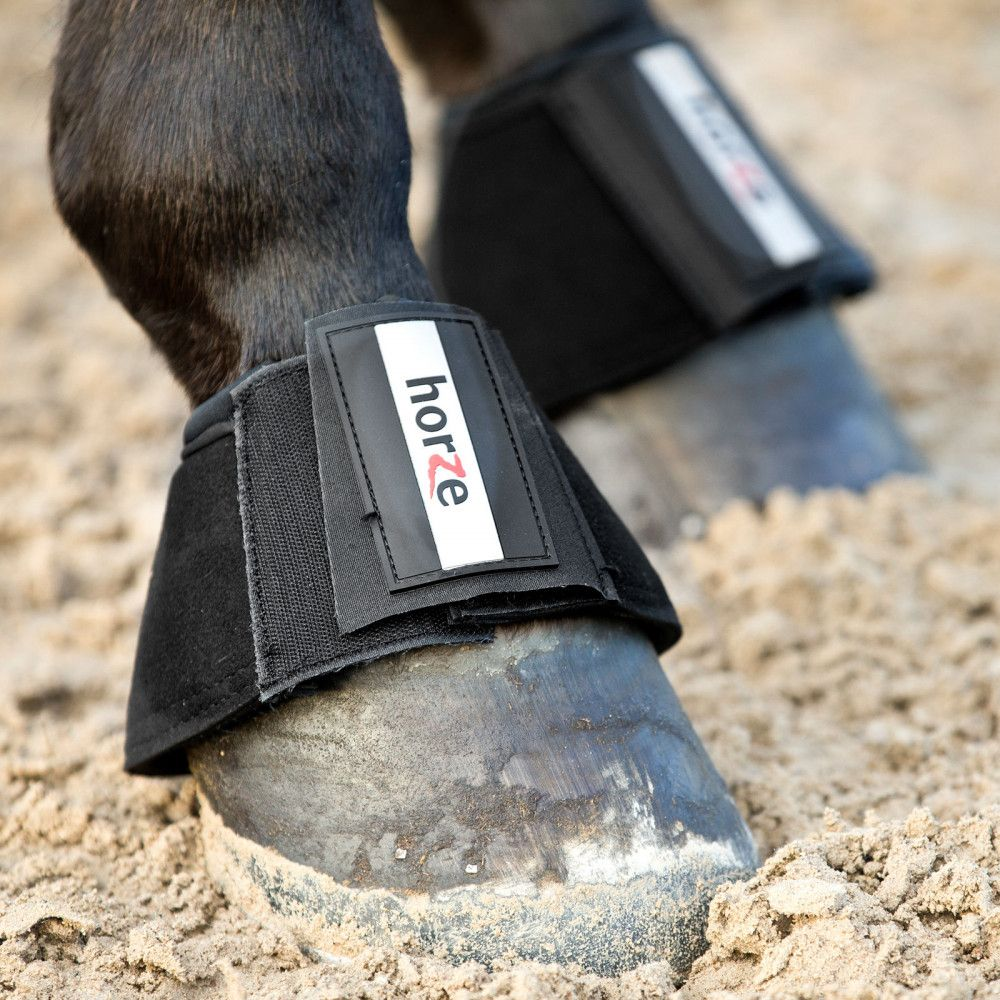 Horze Allround Bell Boots Faux Leather Lined with Neoprene for Horses