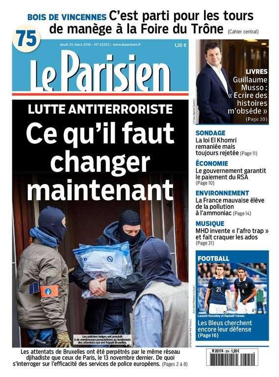 Le Parisien + Journal de Paris du Jeudi 24 Mars 2016