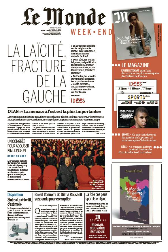Le Monde du Samedi 7 Mai 2016