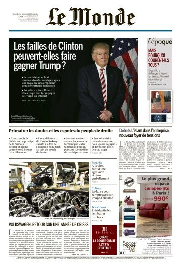 Le Monde du Dimanche 18 et Lundi 19 Septembre 2016