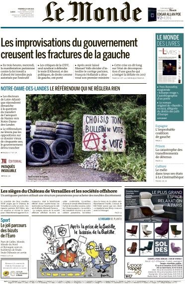 Le Monde du Vendredi 24 Juin 2016