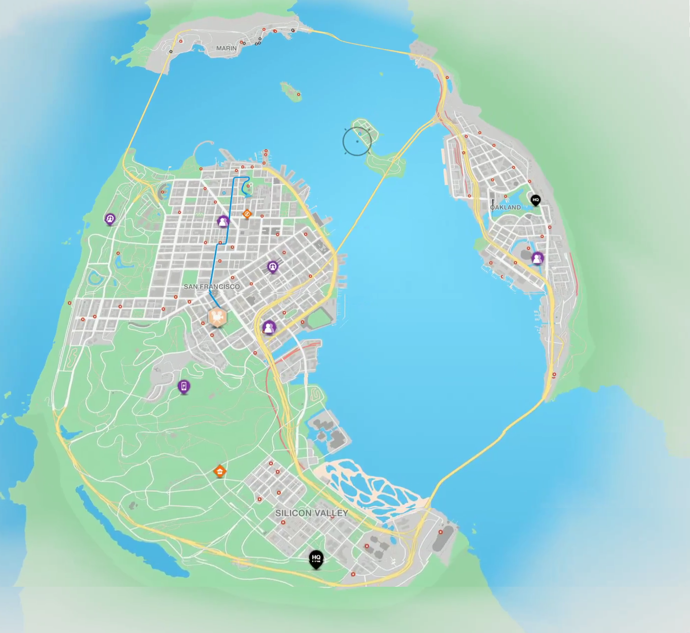 ubisoft forums Watch Dogs Logo through the map, so i screencapped a few times and merged a big one altogether the result is below, alongside a comparison to the real bay area