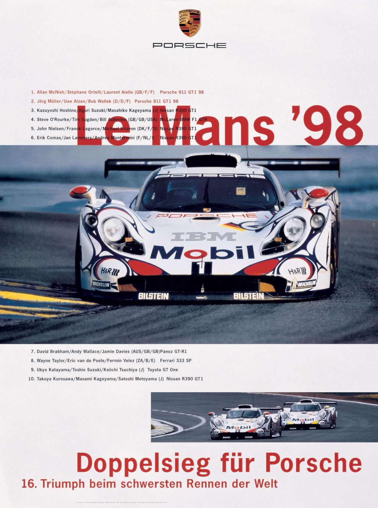 Le Mans '98. Doppelsieg für Porsche. 16. Triumph beim schwersten Rennen der Welt.