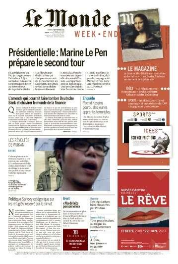 Le Monde du Samedi 17 Septembre 2016
