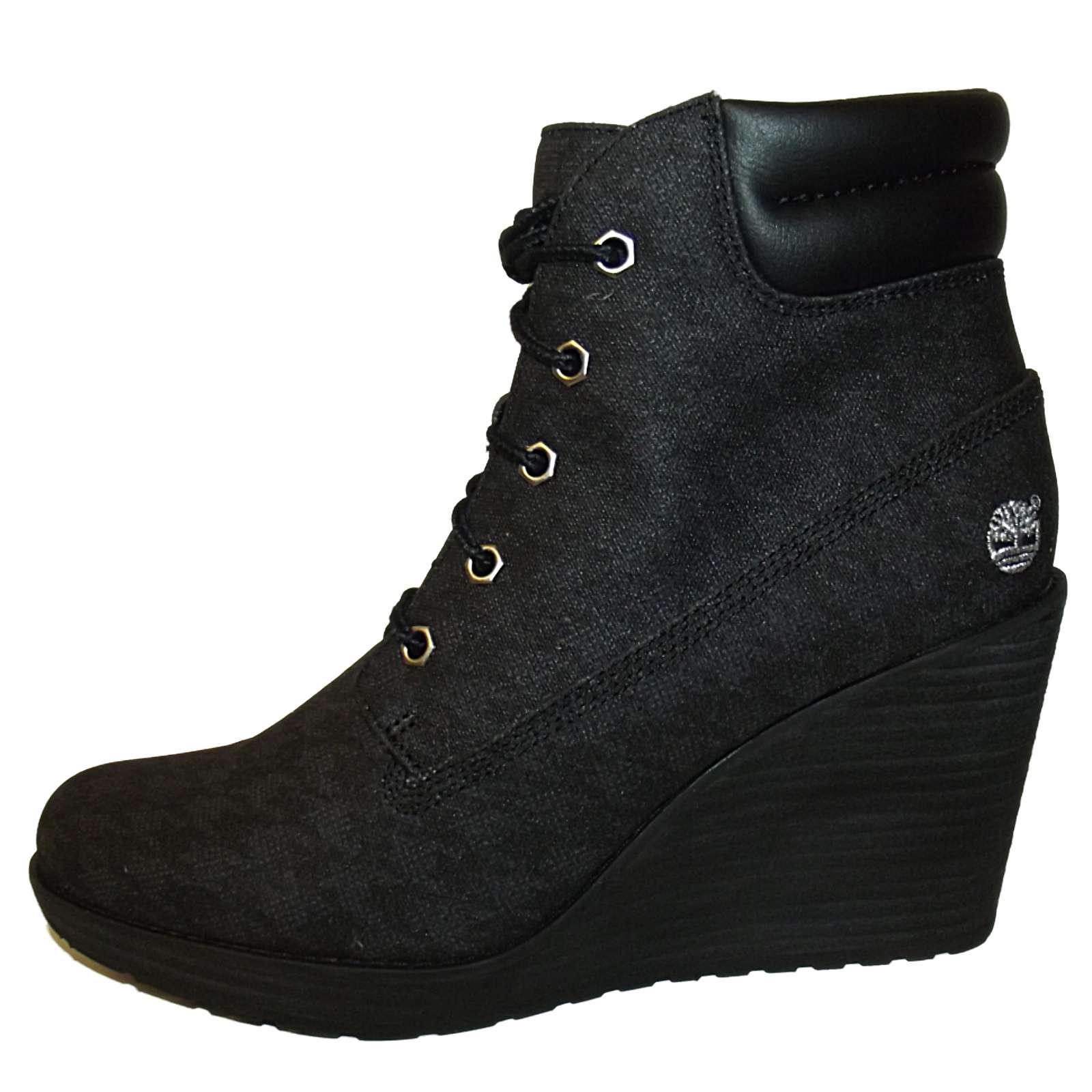 new black timberland meridan wedge heel ankle