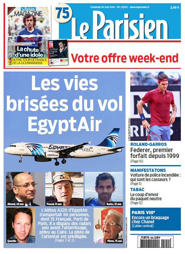 Le Parisien + Journal de Paris du Vendredi 20 Mai 2016