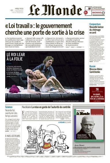 Le Monde du Vendredi 27 Mai 2016