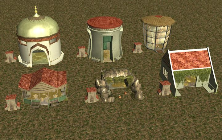 My Downloads - TexMod Packs: In-Game Zoo Building MakeOver - Demo Screenshot Displaying All Six In-Game Animal Houses With TexMod ReTextures, Image 01