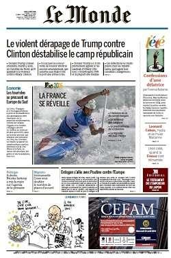 Le Monde du Jeudi 11 Août 2016