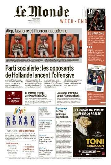 Le Monde du Samedi 20 Août 2016