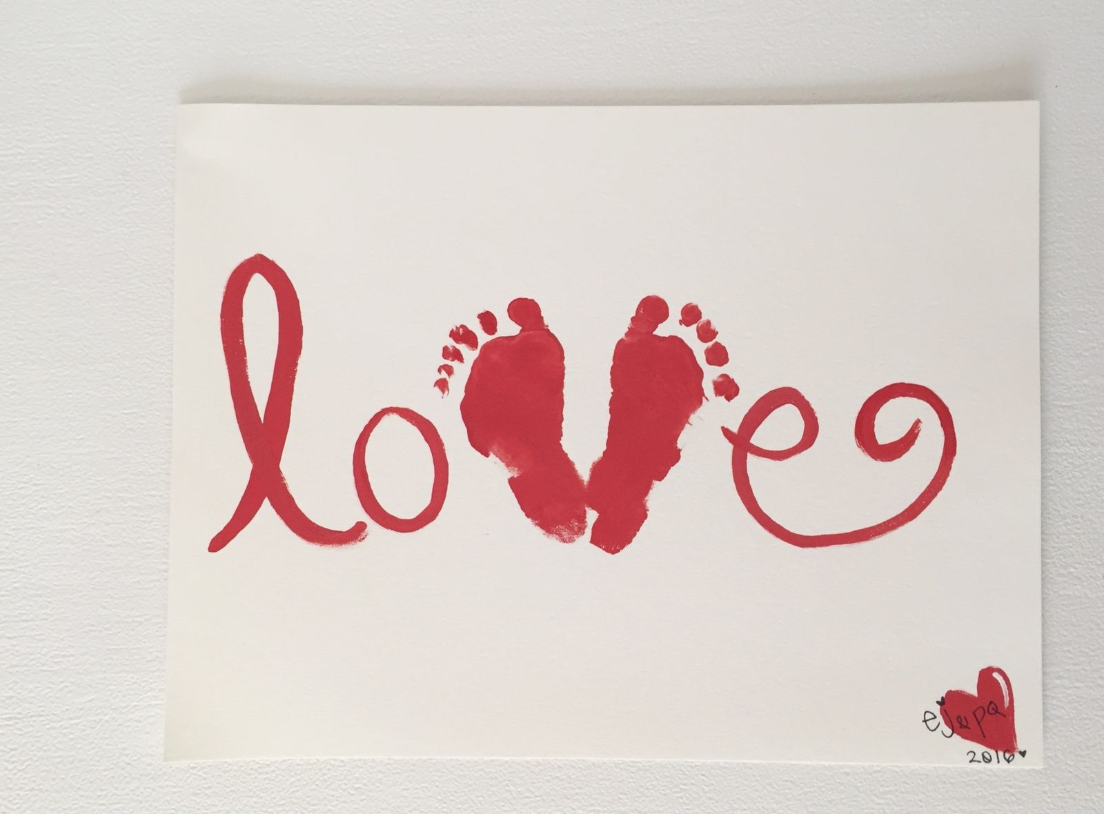 baby footprint valentines art diy
