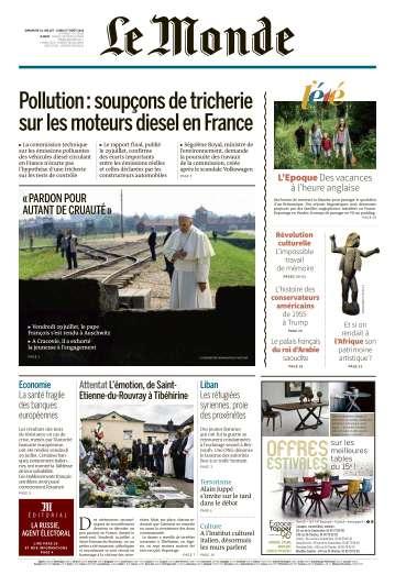 Le Monde du Dimanche 31 Juillet et Lundi 1 Août 2016