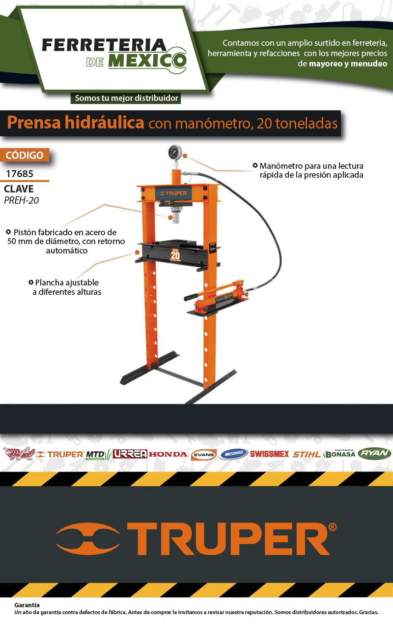 Prensa Hidráulica C/manómetro, 20 Toneladas, Envío Gratis