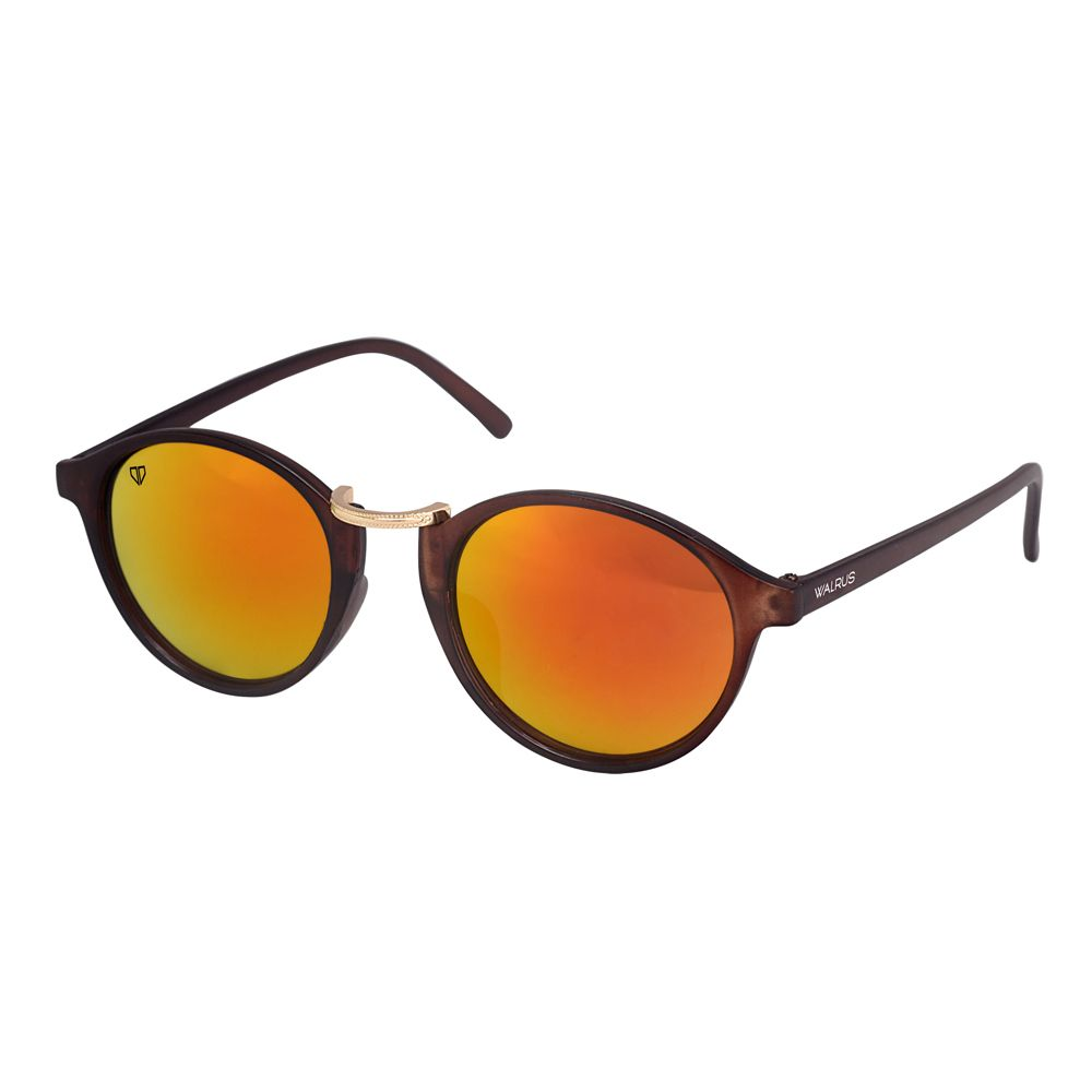 Walrus James Golden Mirror Color Unisex Oval Sunglass - WS-JAMES-230906