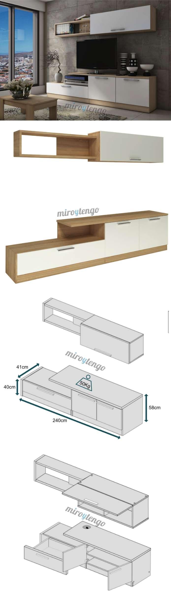 Mueble completo compacto de tv para salon comedor color for Mueble compacto tv