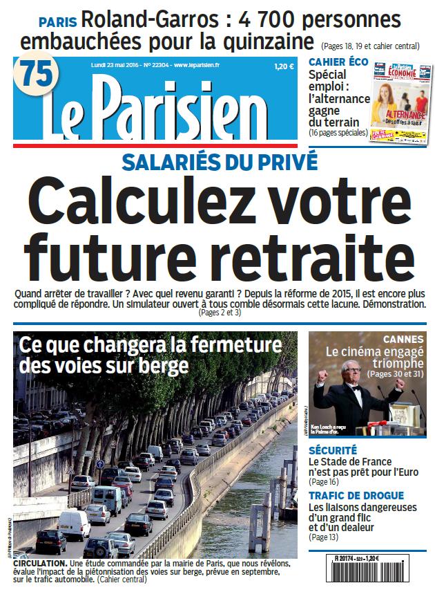 Le Parisien + supplément économie du Lundi 23 Mai 2016