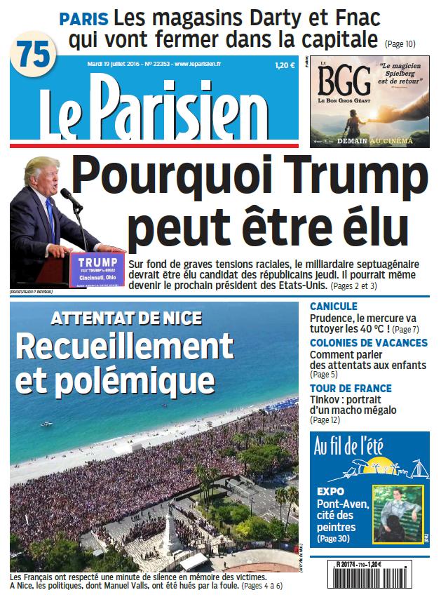 Le Parisien + Journal de Paris du Mardi 19 Juillet 2016