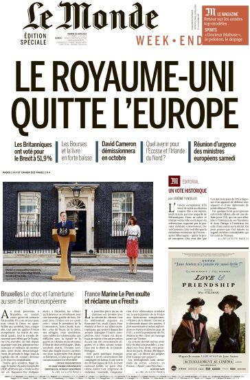 Le Monde du Samedi 25 Juin 2016