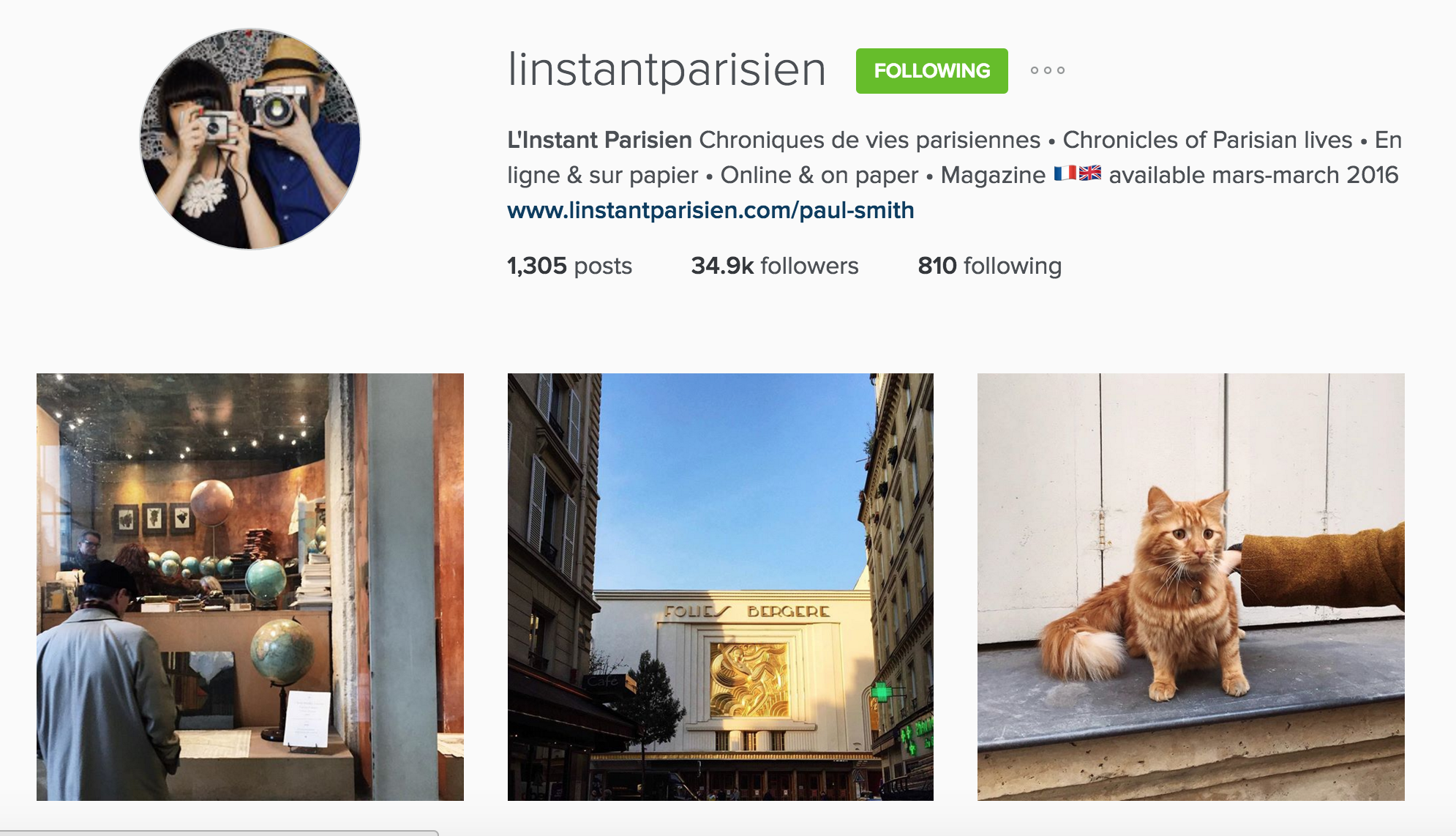 instagram cariboo paris account l'instant parisien fabrice laurence