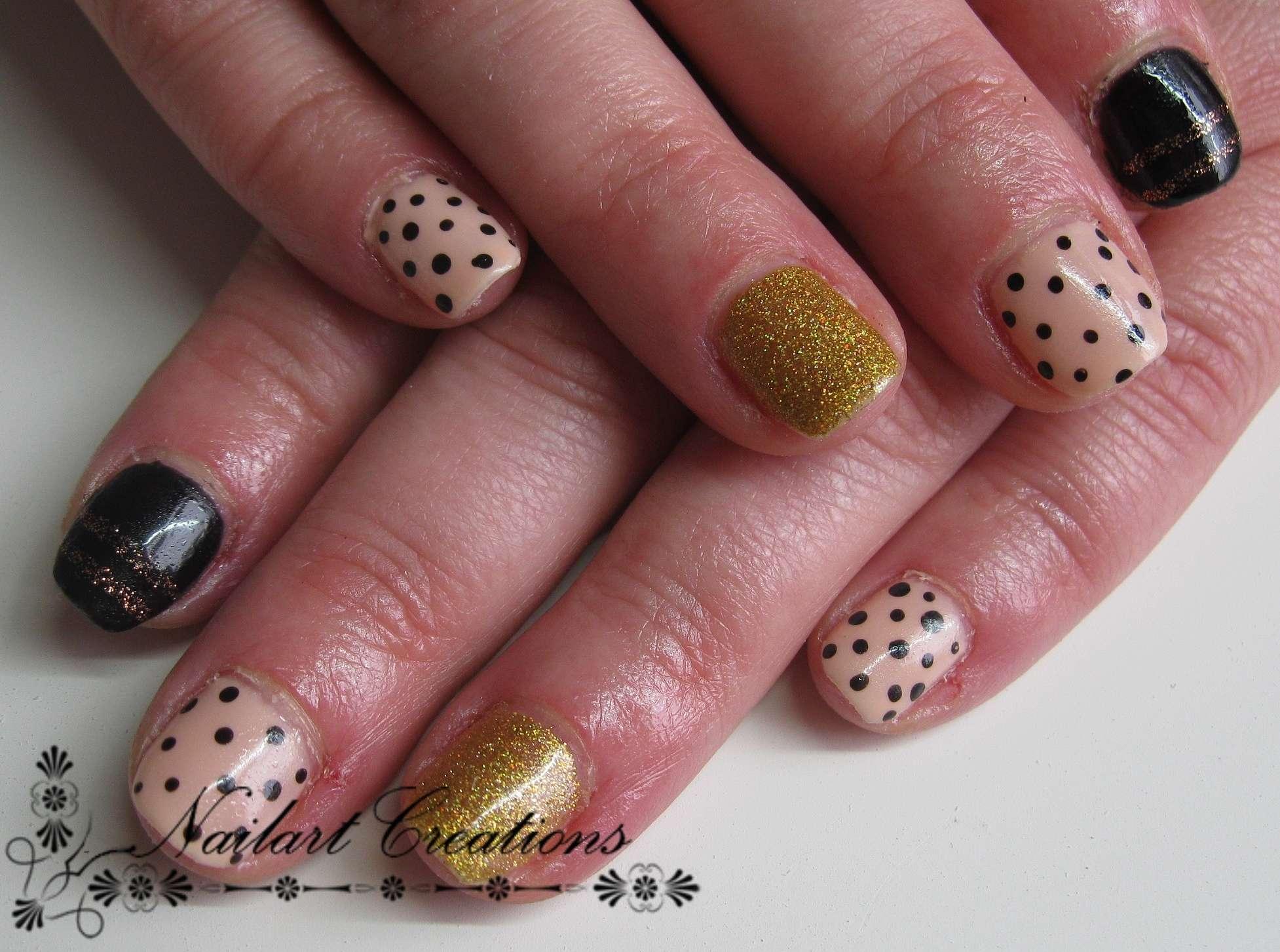 Nailart Creations Gellak Nude Black Gold Combination