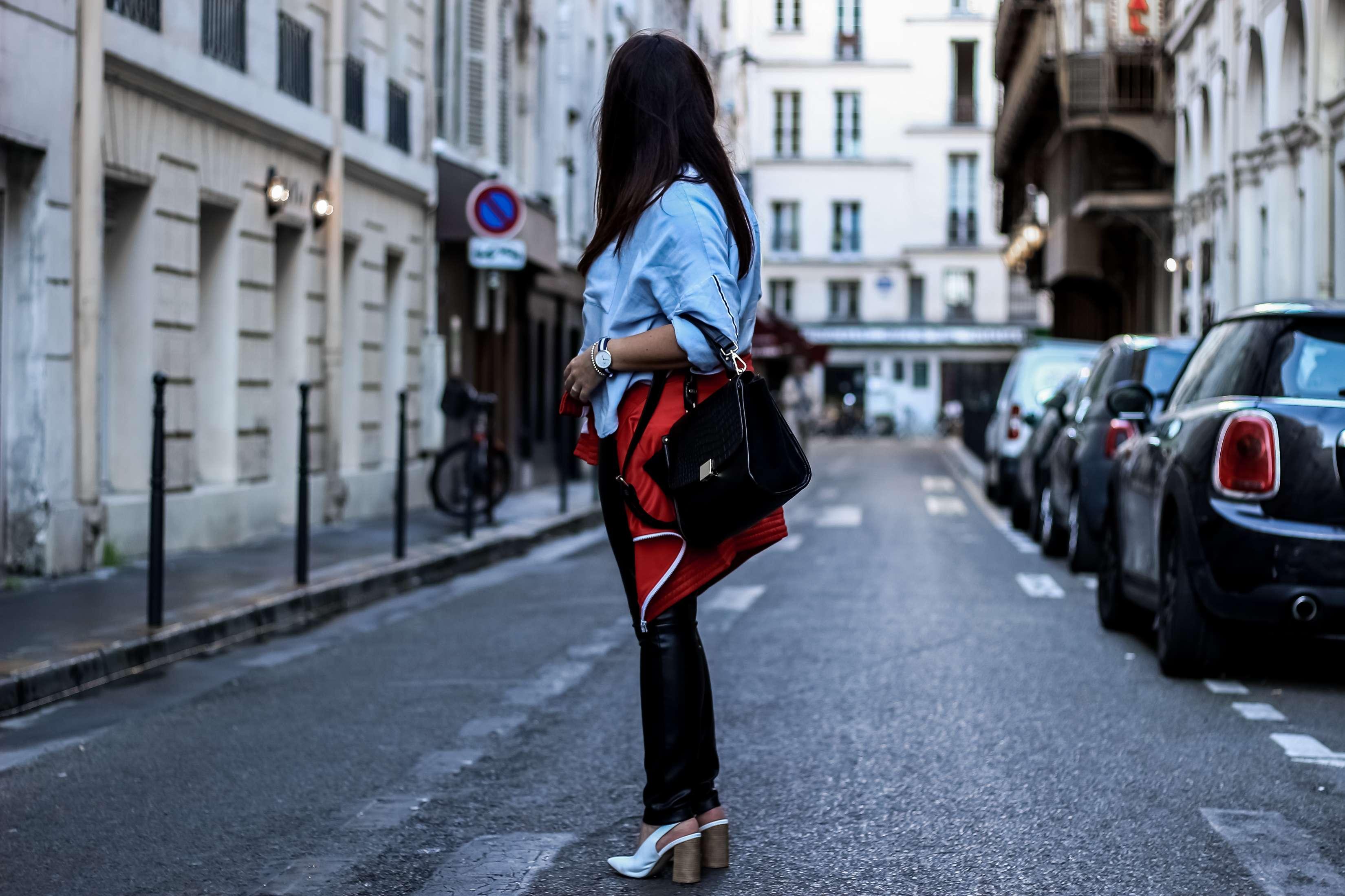 sportwear, hm, the green ananas, blog mode, zara, chemise bleu, escarpins blancs, sac inspi celine sac trapeze, ali express, pantalon simili, veste jogging femme