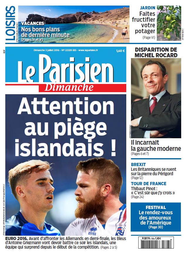Le Parisien + Votre guide du Dimanche 3 Juillet 2016