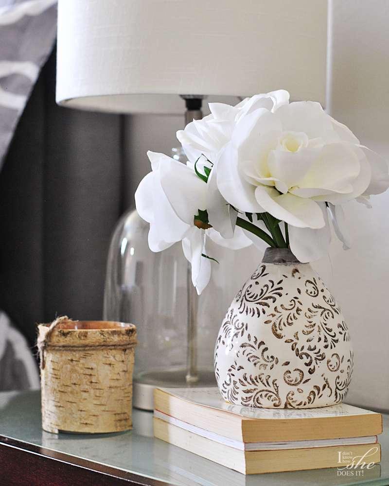 Tribal inspired vase silk flowers