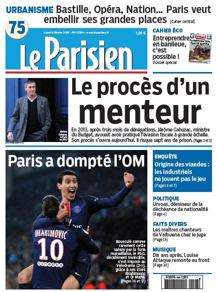 Le Parisien + Journal de Paris du Lundi 8 Février 2016