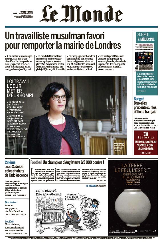 Le Monde du Mercredi 4 Mai 2016