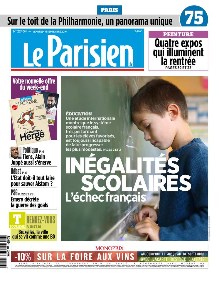 Le Parisien et Journal de Paris du Vendredi 16 Septembre 2016