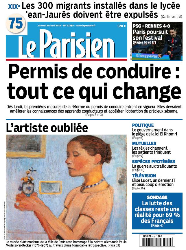 Le Parisien + Journal de Paris du Samedi 30 Avril 2016