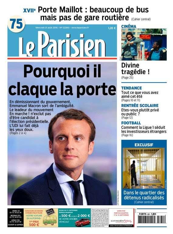 Le Parisien + Journal de Paris du Mercredi 31 Aout 2016